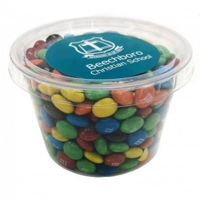 Tub filled with M&Ms 100g