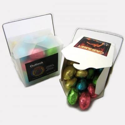 White Noodle Box with Easter Eggs