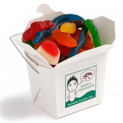 White Cardboard Noodle Box with Mixed Lollies